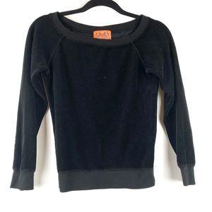 JUICY COUTURE Black Velvet Crewneck Sweatshirt